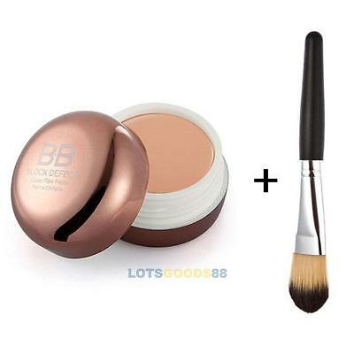 Pro Blemish Hide Concealer Makeup Cosmetic Foundation BB Cream + Powder Brush