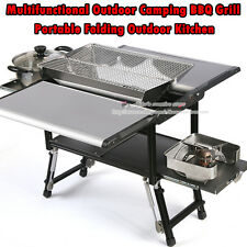 Portable Outdoor BBQ Grill,Camping Cookware Kitchen Equipment Set+Gas Burner Wok