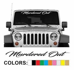 Murdered-Out-Script-Windshield-Decal-Sticker-UTV-Turbo-Truck-Lift-Mud-Car-Diesel