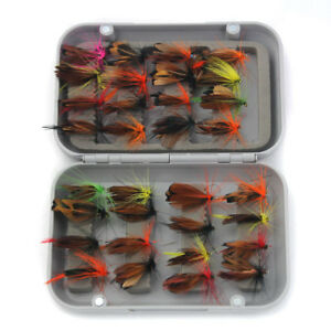 32Pcs Fly Fishing Lure Flies Feather Hooks Baits With Box Tool Fishing Tackle