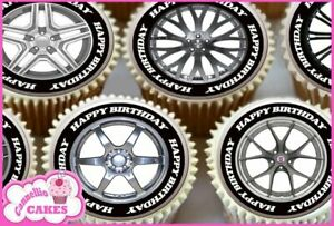24 X Alloy Wheel Happy Birthday Edible Cupcake Toppers Rice Cake Rice Paper 8673 Ebay