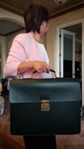 Authentic Louis Vuitton Green Briefcase Vintage