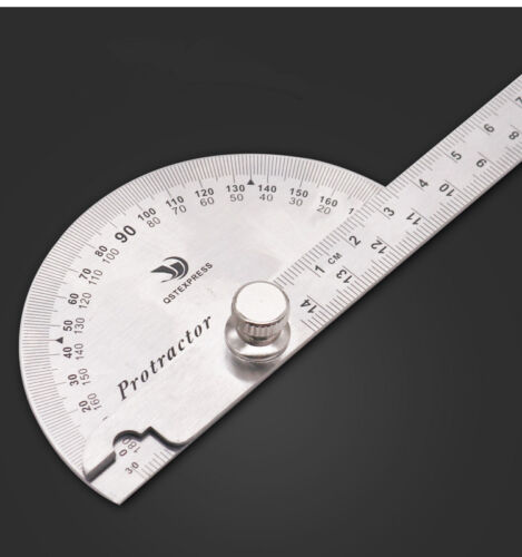 Stainless Steel Rotary Protractor 0-180 Degrees With Angle Ruler Measuring Tool