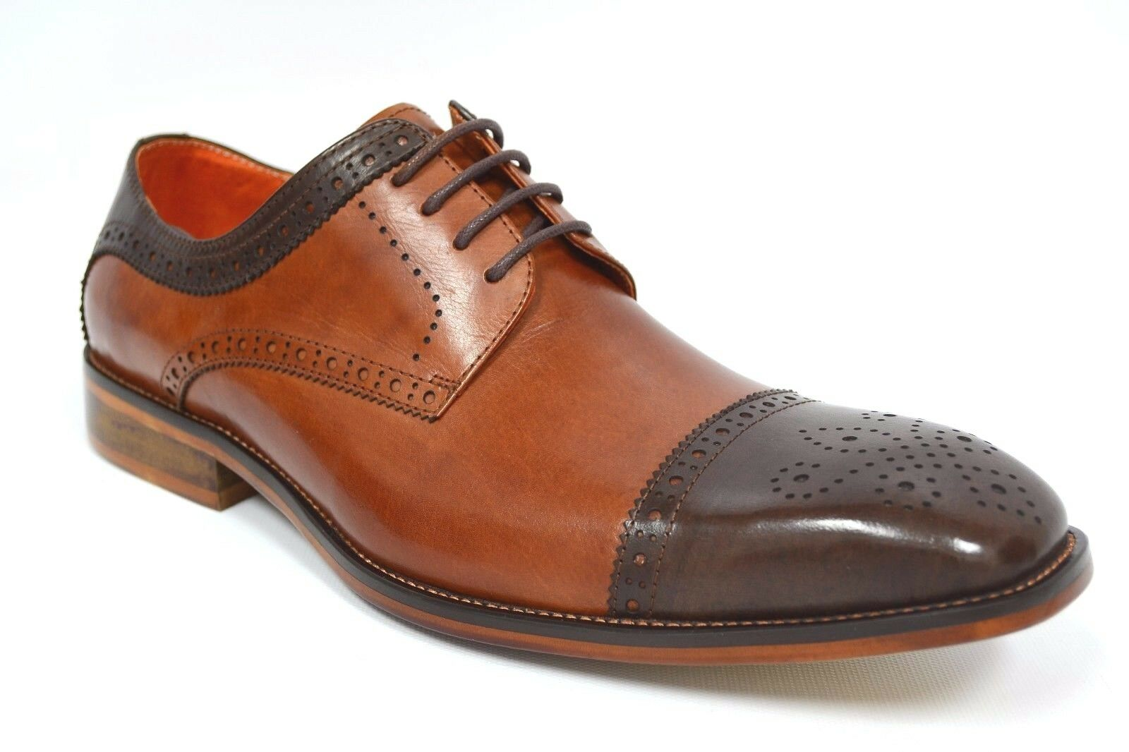 Mens Steven Land Shoes SL0008 Chocolate Brown and Tan Cap Toe Oxfords