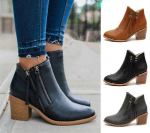 Women-Block-Heel-Ankle-Boots-Ladies-Zipper-Mid-Heel-Casual-Biker-Shoes-Plus-Size