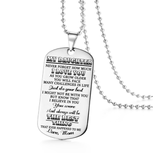 Image Is Loading To My Daughter Love Mom Dog Tags Necklace