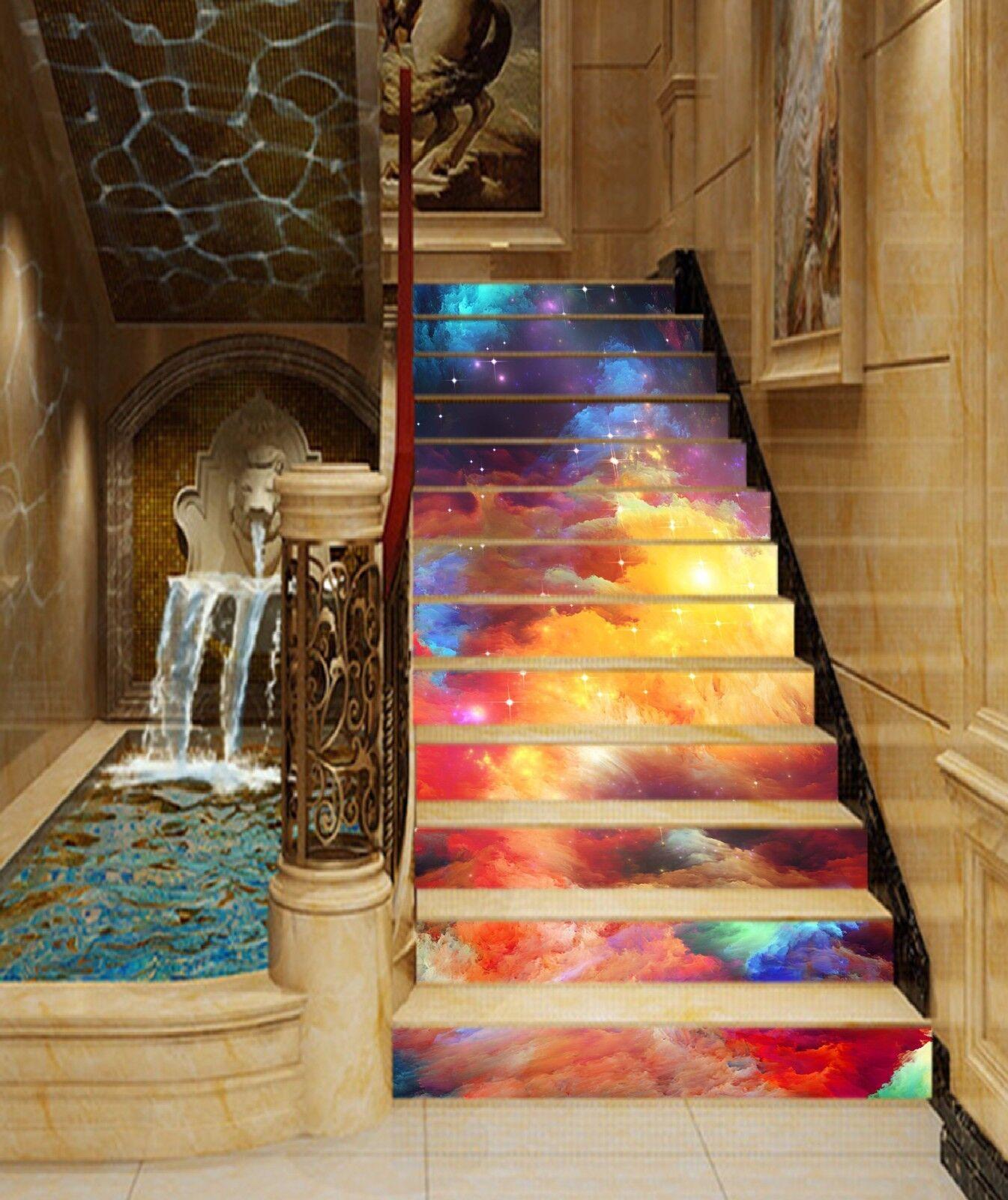 3D Couleur Nuages Ciel contremarches Décoration Photo Murale Autocollant Vinyle Papier Peint UK