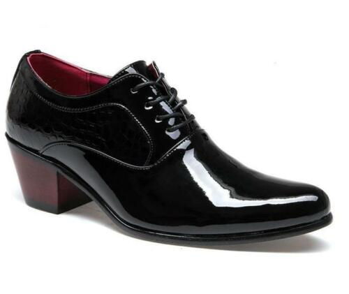 mens cuban Heel lace up oxford pointed toe business Wedding dress formal Shoes