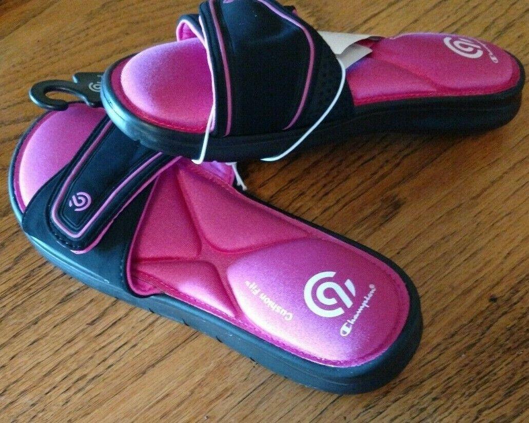 C9 Champion Girls Memory Foam Slides M 2//3 Valma Sport Sandals Black Pink Shoes