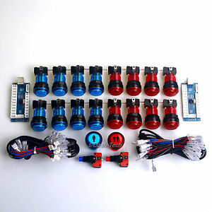2-Player-LED-Arcade-DIY-Parts-for-PC-MAME-18x-5V-LED-Buttons-2x-USB-Encoders