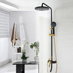 Details About Bathroom Rainfall Black Gold Shower Faucet Head Adjust Tub Mixer Hand Spray Set