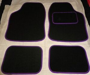 UNIVERSAL CAR FLOOR MATS- BLACK WITH PURPLE TRIM FOR PEUGEOT 206 (1998-2010)