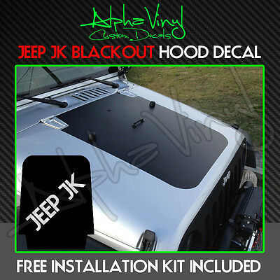 Jeep Wrangler TJ 97-06 Blackout Hood Decal Punisher Black Out w//install kit Fit