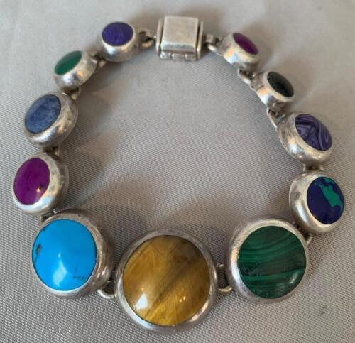 Heavy taxco tiger eye and lapis lazuli mosaic inlay bracelet chunky ca 1980s