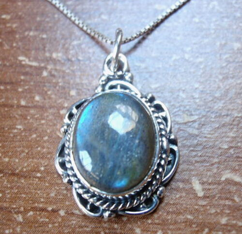 Beautifully Accented Labradorite 925 Sterling Silver Necklace Rope Style Accents