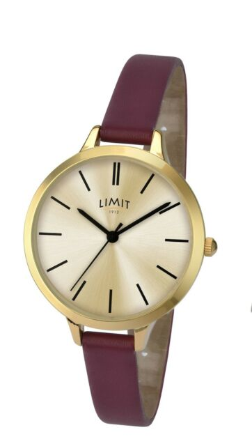 Limit Ladies Modern Gold Tone Watch Thin Burgundy Strap 6225