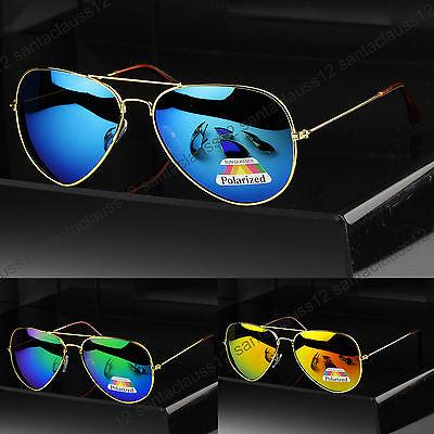 New POLARIZED Aviator Sunglasses Gold Frame  Mens Women's UV400