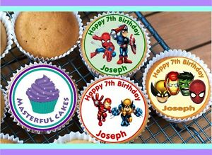24 PERSONALISED MARVEL SUPER HERO SQUARD EDIBLE RICE PAPER CUP CAKE TOPPERS