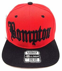 675bd1d309a BOMPTON Snapback Cap Hat Compton Rap Hip Hop Flat Bill Caps Hats Red ...