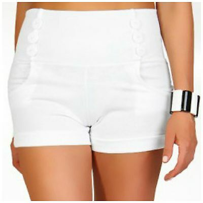 White High Waist Shorts Military Button 40s 50s Rockabilly Pinup Sailor Size 12