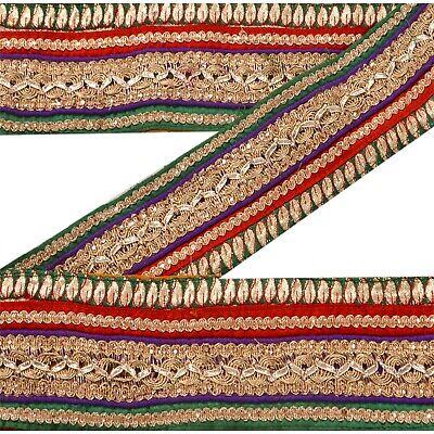 Sanskriti Sanskrit Vintage Deco Ari Work Sari Border Hand Embroidered Trim Craft