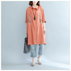 Oversize-Ladies-Long-Shirt-Dress-Cotton-Linen-Embroidery-Casual-Rusty-Red-Blouse