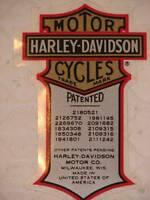 Harley Davidson Vintage Patent Patented Decal (inside) 4.2 X 2.5 Sweet