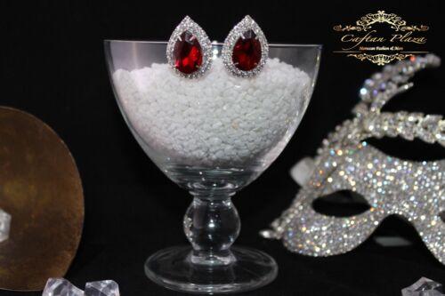 Brautschmuck Hochzeit Ohrringe Ohrstecker L Silber Rot Klar Luxury