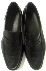 A. Testoni Penny Loafers Shoes Black Pebble Leather Slip ...