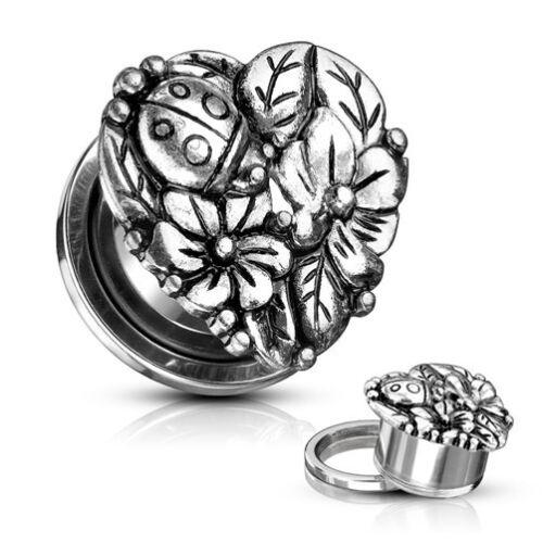 Túnel bollos Plug corazón de acero inoxidable flor floración escucha oreja piercing pendientes