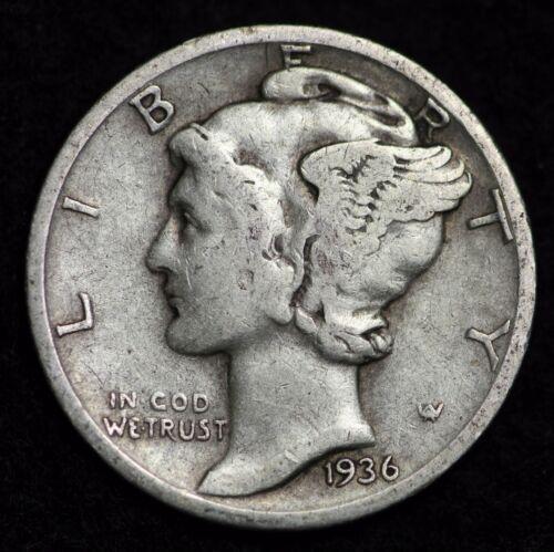 1936-D MERCURY DIME VERY GOOD 90/% SILVER COIN CIRCULATED GRADE GOOD