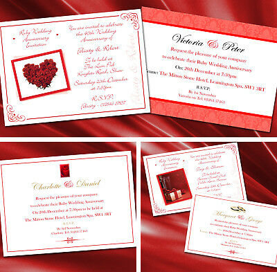 Ruby Silver Golden Mariage Anniversaire Invitations X 5