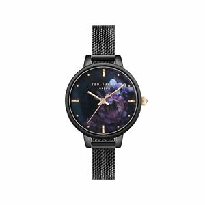 d79b34f3c Ted Baker Ladies Black Watch Floral Dial   Mesh Bracelet TE50070014 ...