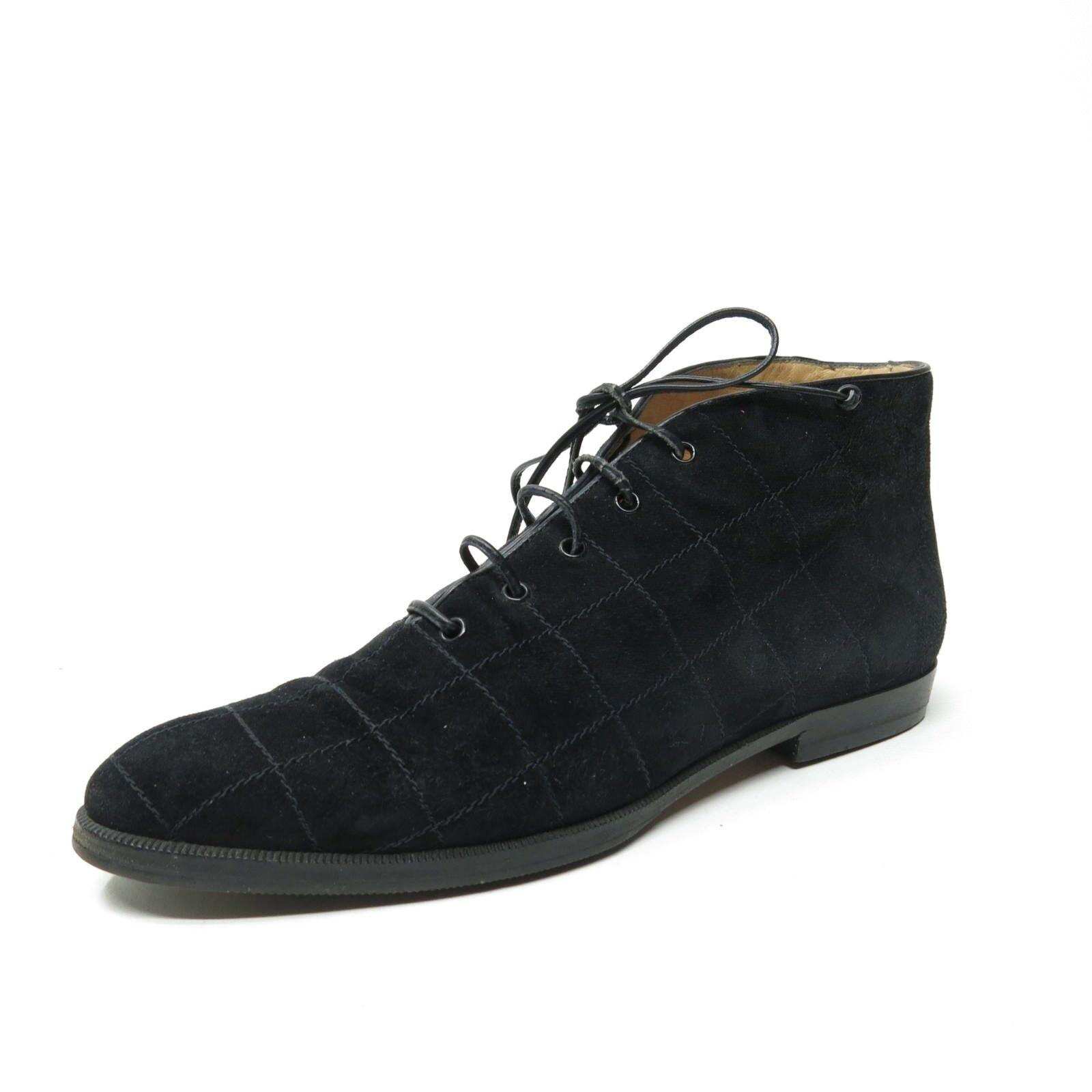 De Colección Salvatore Ferragamo Acolchado Negro Cuero Con Cordones botas al Tobillo WMN 6.5 AA