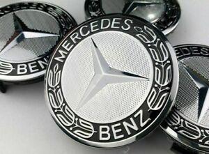 4x Mercedes Black with Silver Hub Alloy Wheel Centre Caps 75mm A B C E S M