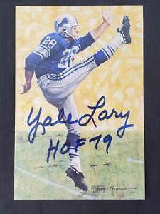 Yale Lary Autographed Signed Goal Line Art