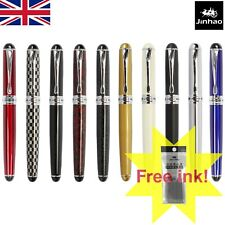 UK Seller New Jinhao x750 Red Ice Medium Fountain Pen with Chrome Trim