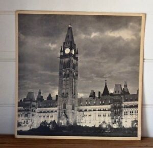 Vintage-Large-original-photograph-print-Ontario-Clock-tower-Canadian-Parliament