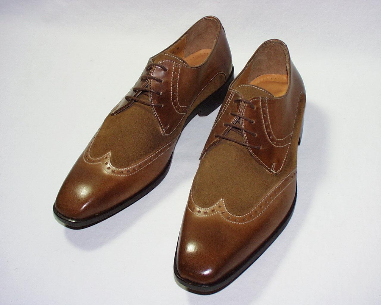 Mercanti Fiorentini Cancun Wingtip Oxford,Leather & Suede Upper, Brandy, 8, New