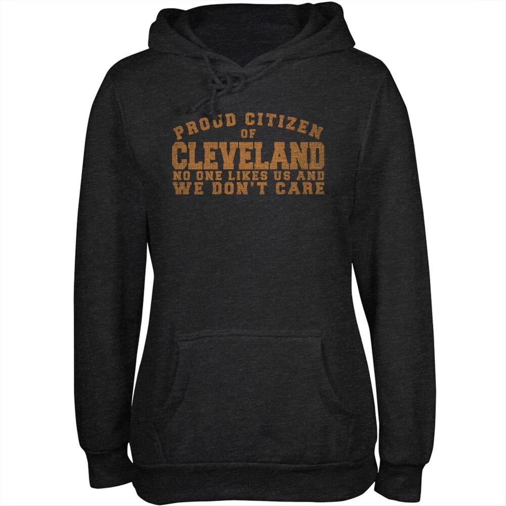 Proud No One One One Likes Cleveland Charcoal Heather Juniors Soft Hoodie b452df