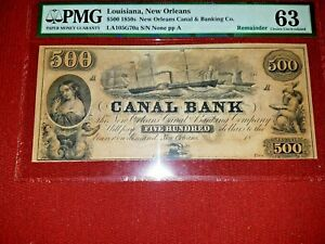 1850-039-s-500-CANAL-BANK-PMG-63-Choice-UNC-Haxby-LA105G70-Unissued-Beauty
