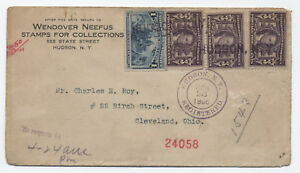 1906-3ct-Lousiana-Purchase-x3-on-Registered-cover-Hudson-NY-y1989