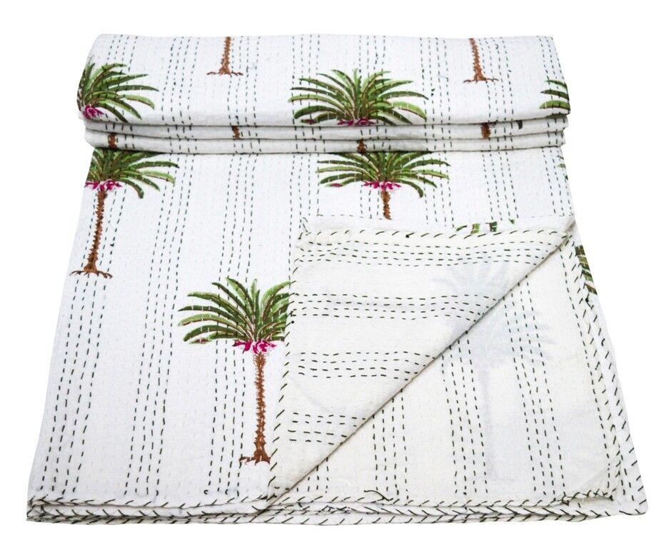 108  Cotone Indiano Kantha QUILT REGINA 100% Cotone Reversibile Biancheria da letto di blocco a mano