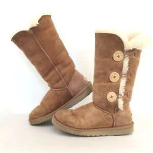 1bb2cec6a12 UGG Womens Sz 7 Bailey Button Triplet Boot In Chestnut Suede ...