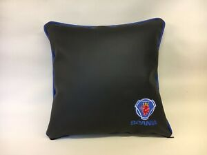 17-Inch-Faux-Leather-Scania-Truck-Logo-Embroidered-Cushion-With-Inner-Piping