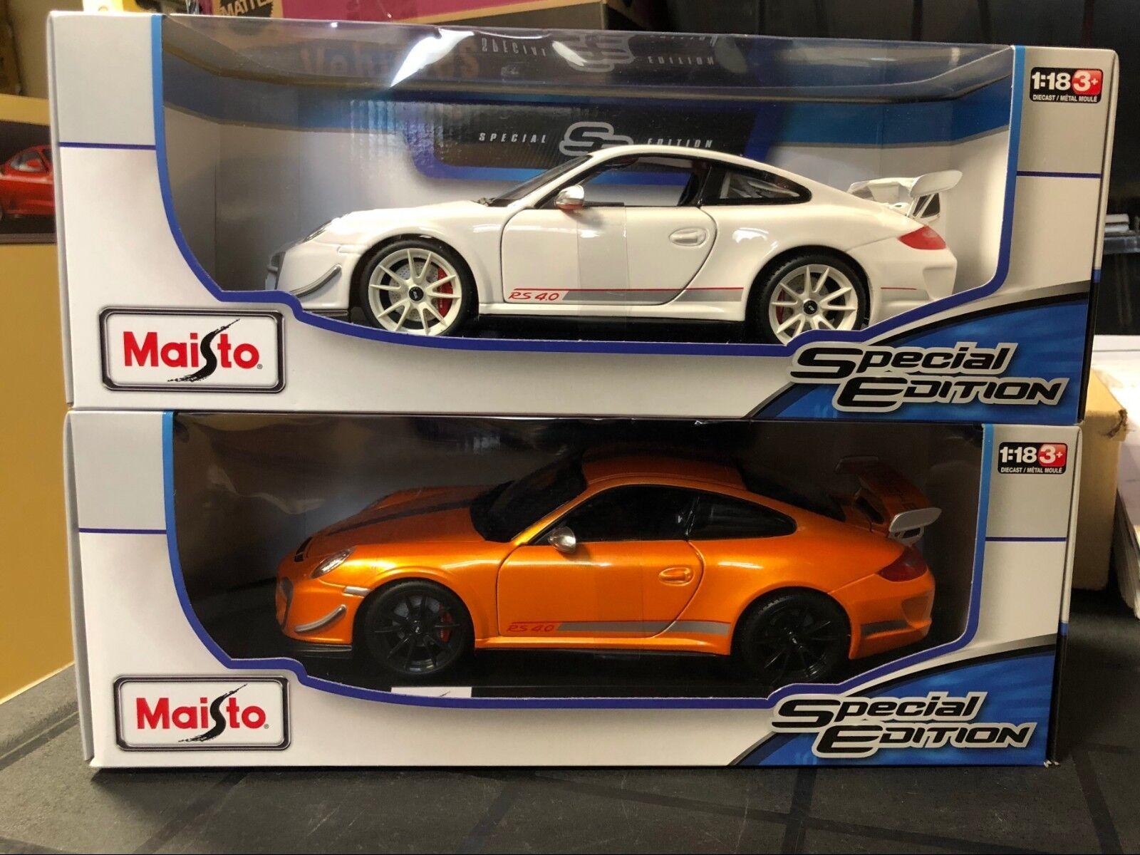 SET OF 2 PORSCHE 911 GT3 RS 4.0 1 orange & 1 WHITE BY MAISTO 1 18  FREE SHIPPING