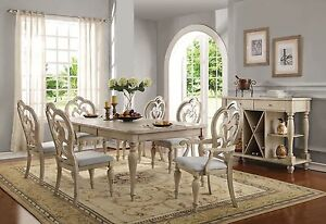 Details about NEW ABERDEEN 7PC FORMAL TRADITIONAL COUNTRY ANTIQUE WHITE  WOOD DINING TABLE SET