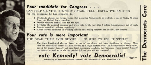 1490 Official 1960 Kennedy Johnson DEMOCRATS CARE Campaign Handbill