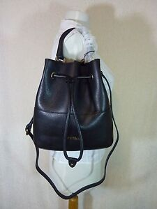 NWT-FURLA-Black-Pebbled-Leather-Brooklyn-Bucket-Tote-Bag-388-Made-in-Italy