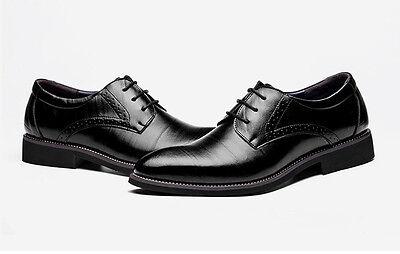 Herren Echtleder Business Hochzeit Spitze Halbschuhe Leder Schnür Schuhe GR37-48